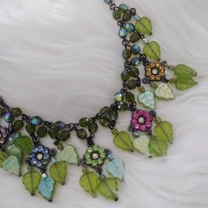 Reckless Resale Jewelry - Fairy Garden Floral Crystal Statement Necklace